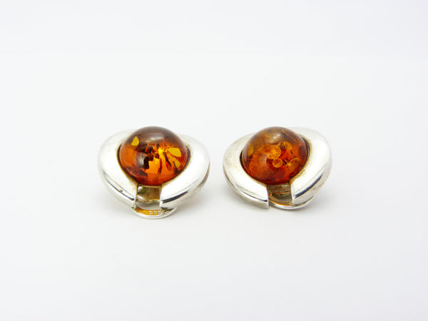Vintage Modernist Sterling Silver & Amber Clip On Earrings