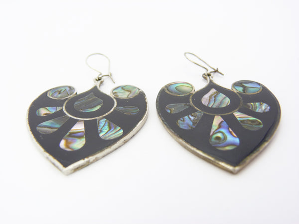 Vintage Mexico Black Enamel Abalone Shell Inlay Floral Heart Earrings