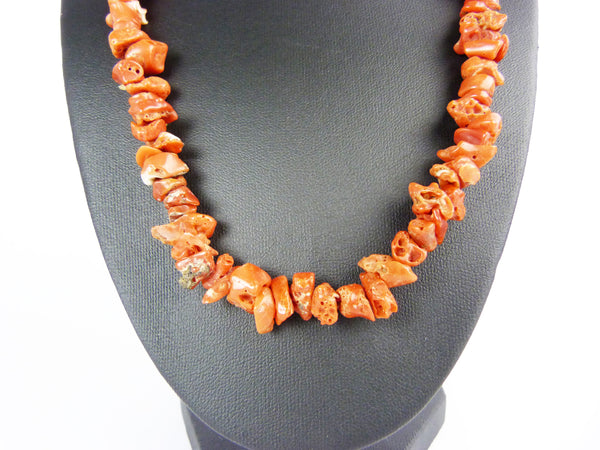Vintage Red Chip Coral & Silver Clasp Necklace