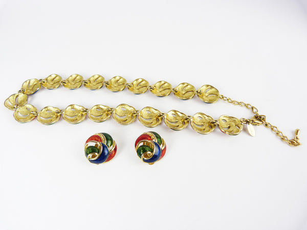 Vintage Fontaine 18 Carat Gold Plated Blue, Red & Green Enamel Bracelet and Earrings