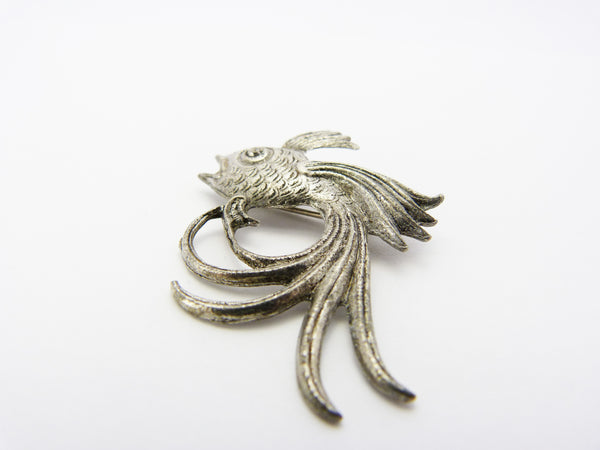Vintage Silver Tone Siamese Japanese Fighting Fish Brooch