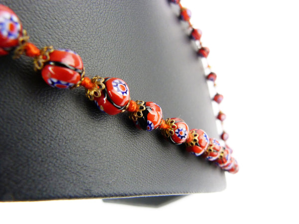 Art Deco Venetian Millefiori Red Glass Bead Necklace