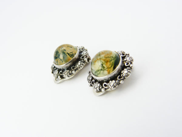 Vintage Silver & Dendritic Moss Agate Clip On Earrings