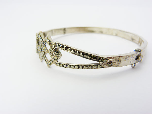 Vintage Art Deco Sterling Silver & Marcasite Hinged Bangle