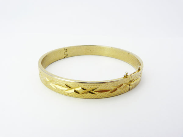 Vintage Gold Plated Engraved Hinged Bangle