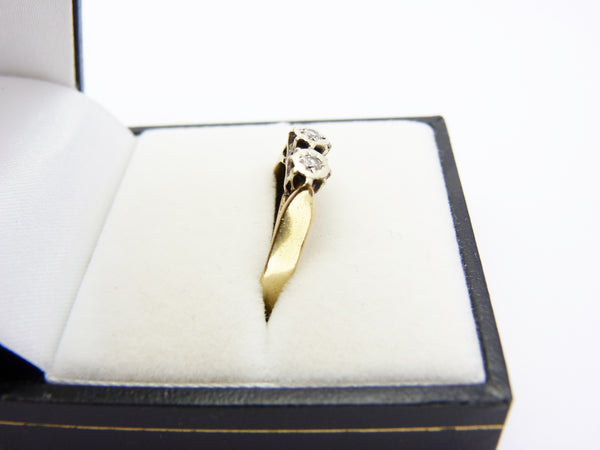 Vintage 9ct Gold and Double Diamond Ring