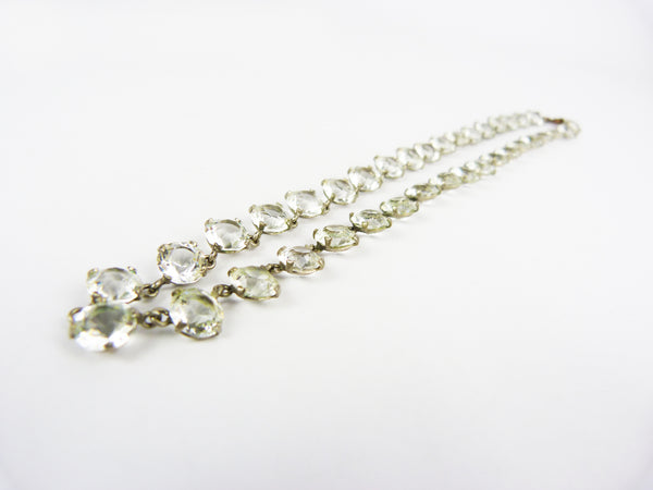 Vintage Art Deco Clear Glass Crystal Riviere Necklace