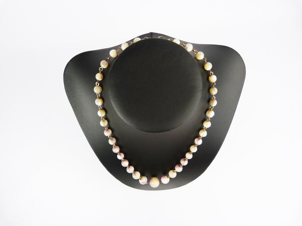 Vintage Art Deco Mother of Pearl Shell Bead Necklace