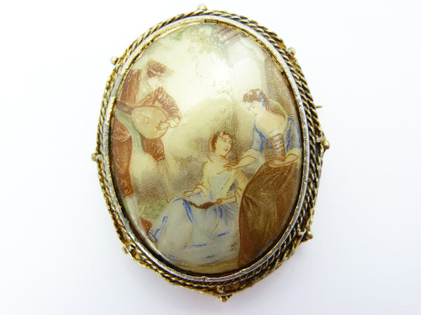 Vintage Limoge Cameo Style Hollywood Brooch