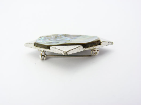 Vintage Mother Of Pearl Brooch Signed Exquisite