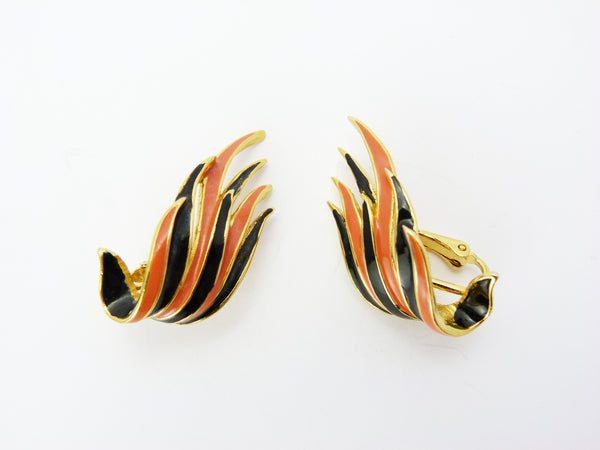 Vintage Gold Tone Orange & Black Enamel SPHINX Clip On Earrings