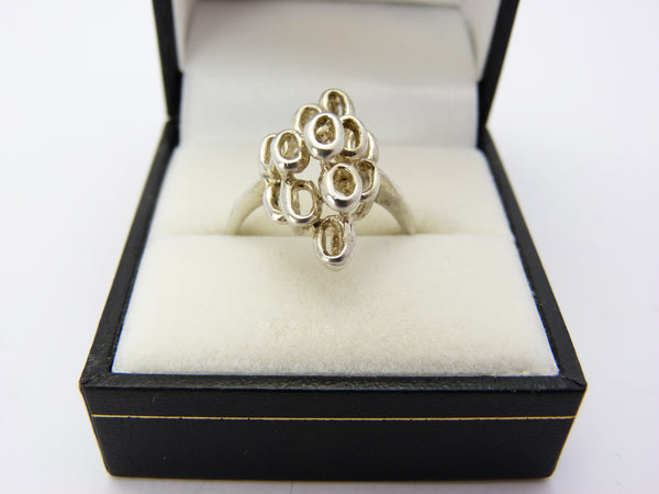 Vintage Silver Modernist Abstract Brutalist Ring UK Size Q