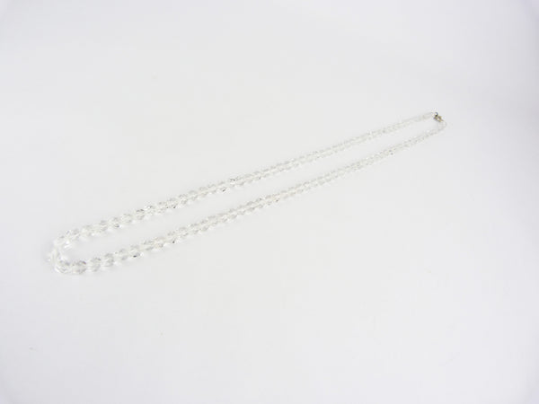 Vintage Faceted Clear Glass Bead Necklace