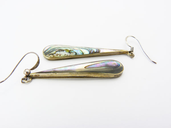 Vintage Silver Abalone Shell Alpaca Mexico Earrings
