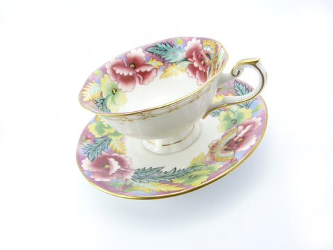 Vintage Crownford Queen's Fine Bone China Art Deco Floral Tea Cup & Saucer