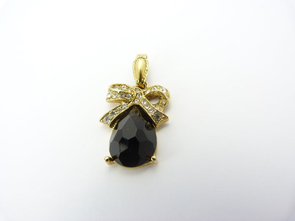 Victorian Style Gold, Black & Clear Paste Stone Ribbon and Bow Pendant