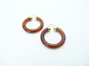 Vintage Tortoiseshell Gold Plated Hoop Earrings