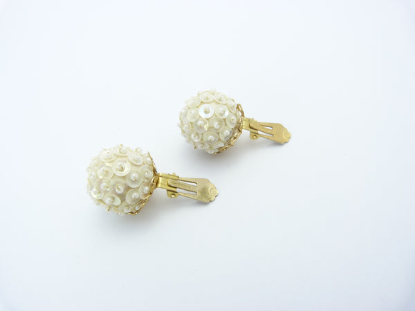 Vintage Cream Bead Clip On Earrings Signed Hong Kong