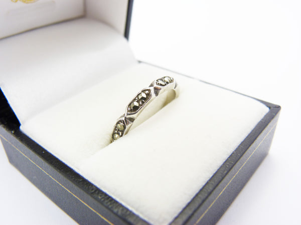 Vintage Silver Marcasite Eternity Band Ring