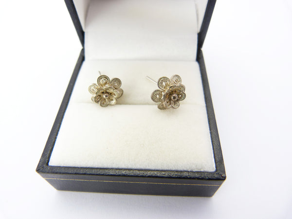 Vintage Sterling Silver Filigree Rose Flower Stud Earrings