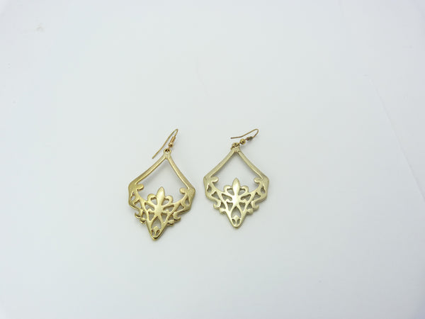 Vintage Art Nouveau Style Gold Tone Earrings