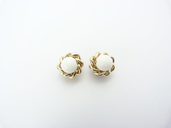 Vintage Gold Tone & White Glass Bead Clip On Earrings