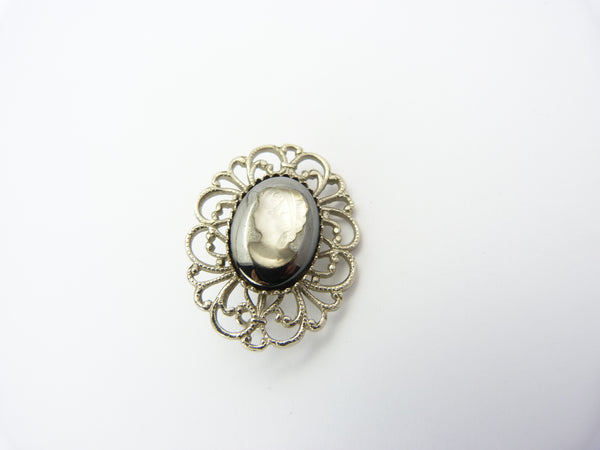 Vintage Hematite Black Glass & White Clear Glass Cameo Brooch