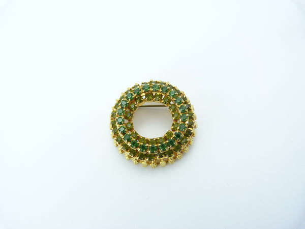 Vintage Gold Tone & Emerald Green Rhinestone Wreath Brooch