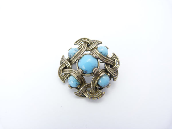 Vintage Celtic Silver & Turquoise Glass Agate Brooch