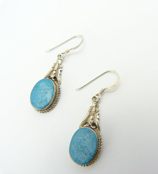 Vintage Native American Silver & Turquoise Drop Earrings