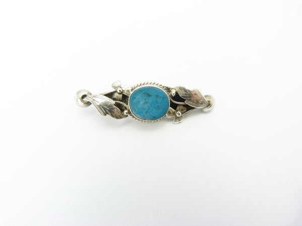 Vintage Arts & Crafts Silver & Turquoise Bar Brooch