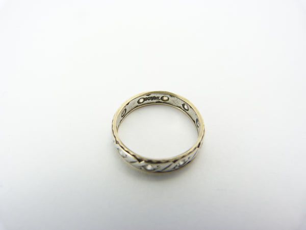 Vintage 9CT Gold & Silver Clear White Spinel Eternity Ring