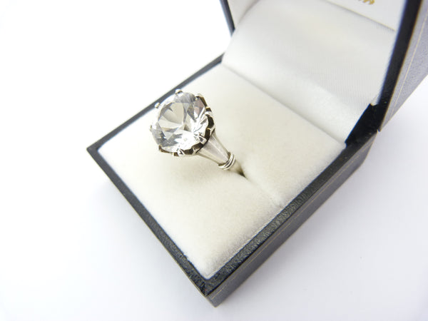 Antique Art Deco Silver Rock Crystal Solitaire Ring