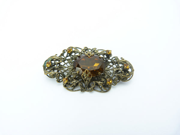 Art Deco Czech Filigree Orange Glass Brooch