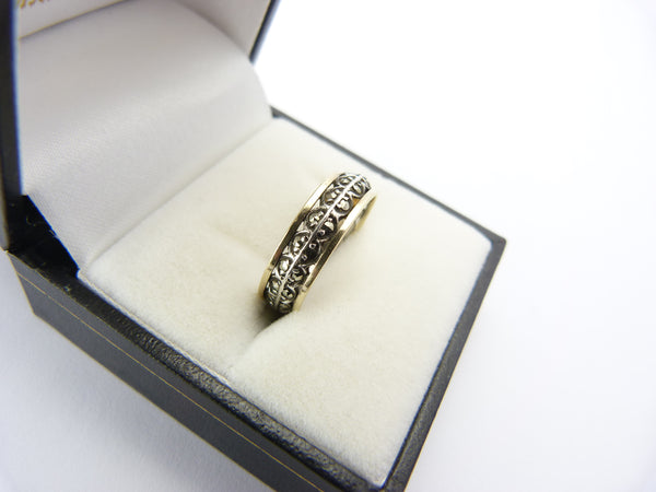 Vintage Art Deco 9CT Gold & Silver Marcasite Eternity Ring