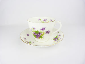 Vintage Adderley Bone China Violet Footed Tea Cup & Saucer