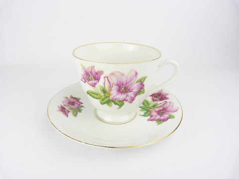 Vintage Pink Lily China Tea Cup & Saucer Made In China