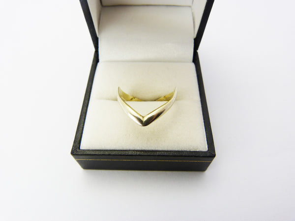 Vintage Sterling Silver Gilt Chevron Ring UK Size O