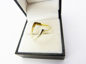 Vintage Sterling Silver Gilt Chevron Wishbone V Shaped Ring UK Size O