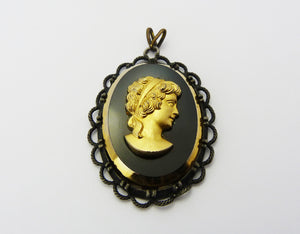 Vintage Black & Gold Glass Cameo Pendant Signed Exquisite