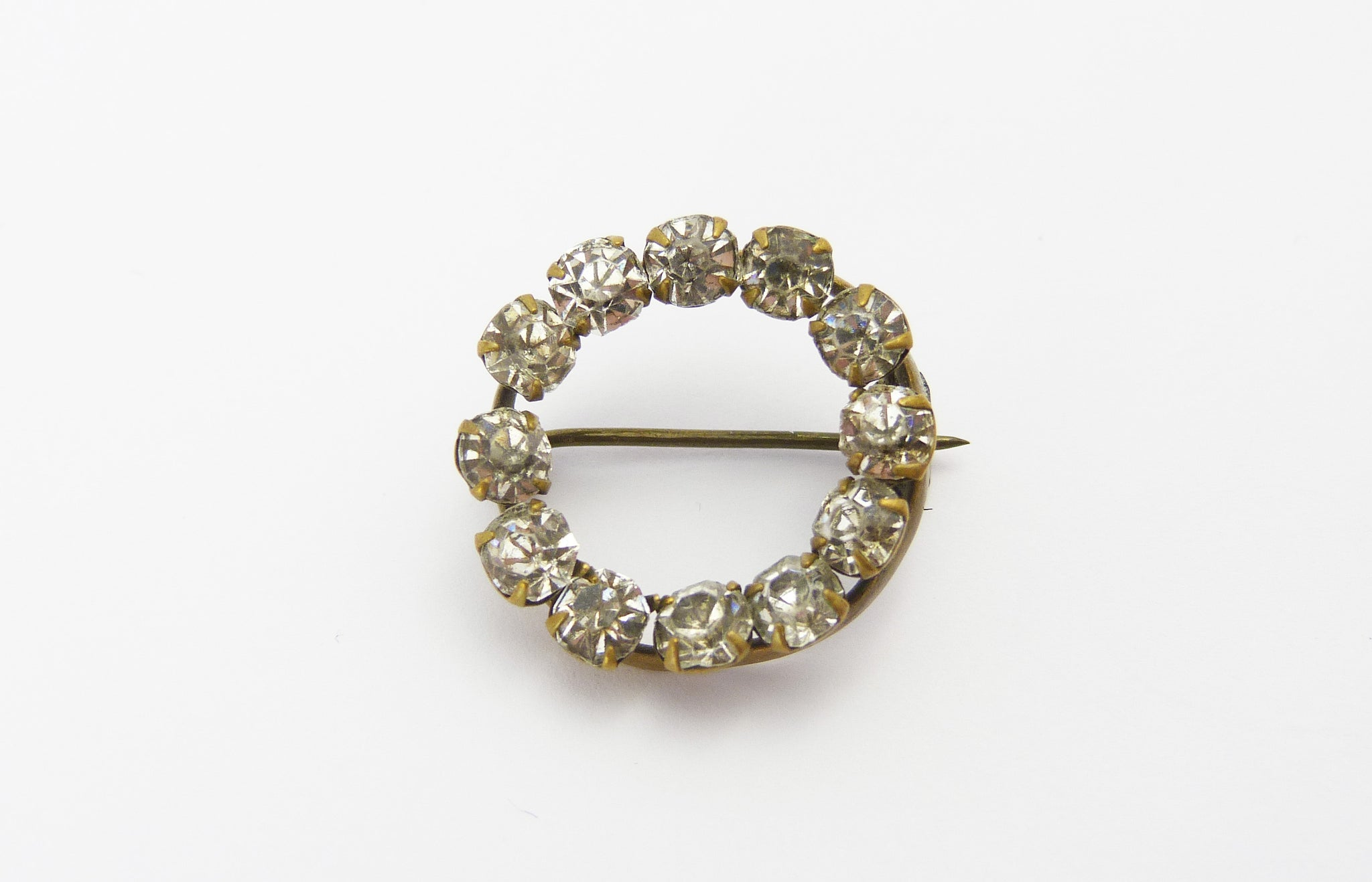 Antique Edwardian Clear Paste Lace Pin Brooch