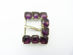 Vintage Art Deco Czech Purple Amethyst Paste Belt Buckle - Signed 112