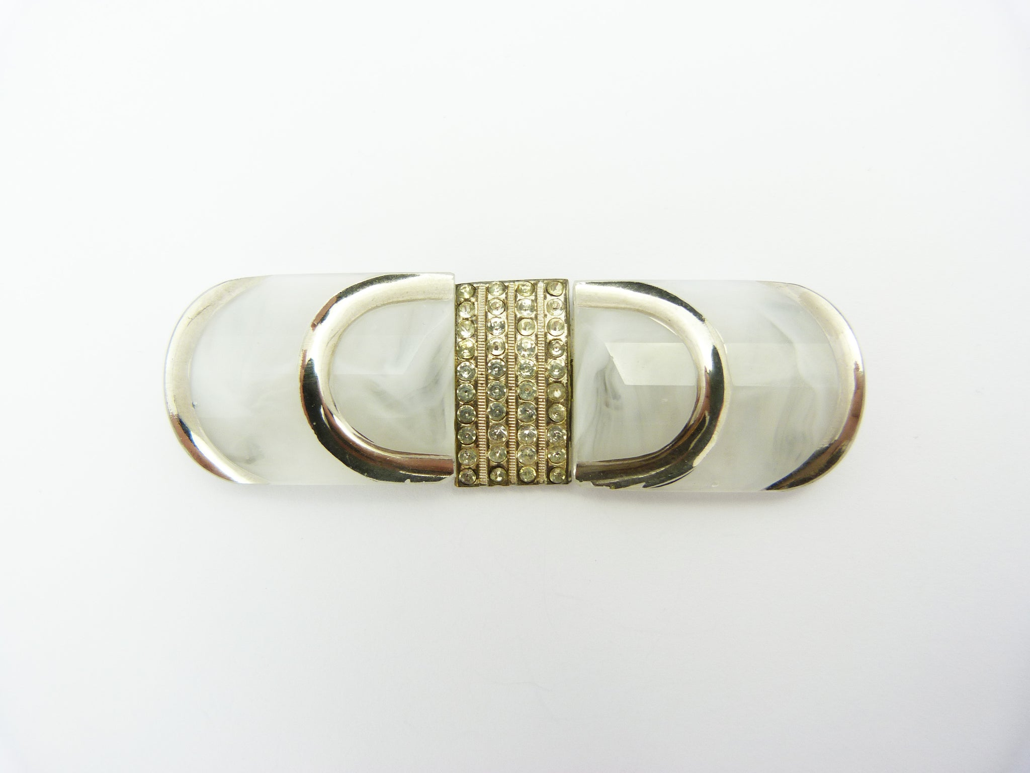 Vintage Art Deco Czechoslovakia Frosted White Glass & Paste Belt Buckle Clasp