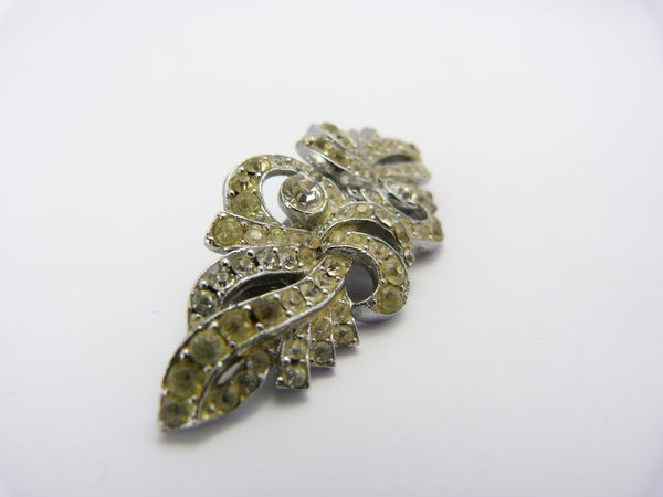 Vintage Art Deco Clear Rhinestone Brooch Duette Dress Clips