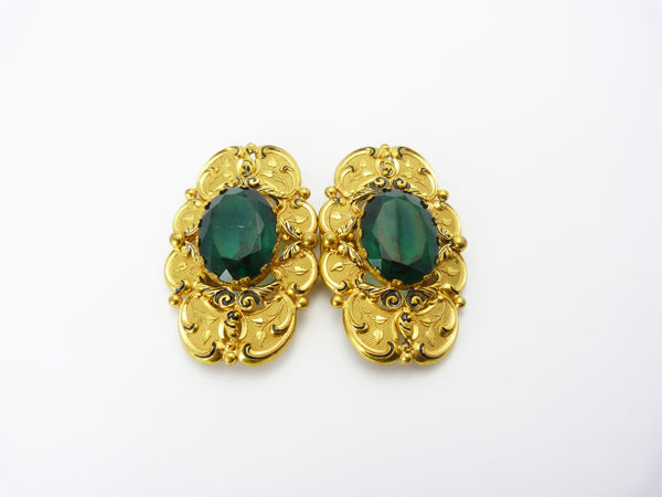 Vintage Czech Bohemian Gold Tone & Green Glass Ornate Buckle