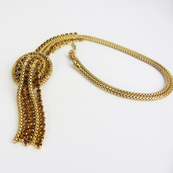 Vintage Gold Tone Brown Rhinestone Tassel Necklace