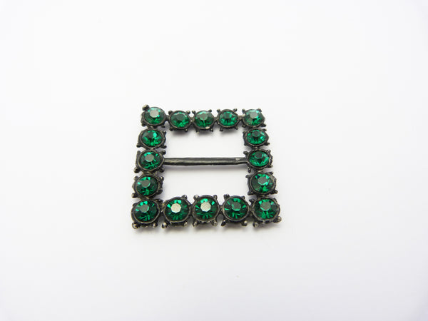 Vintage Art Deco Green Rhinestone Glass Buckle