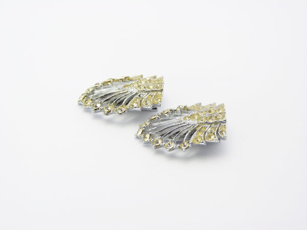Vintage Art Deco Clear Paste Double Dress Clips