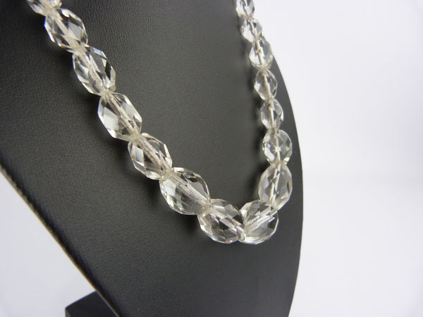 Vintage Art Deco Clear Glass Bead Necklace