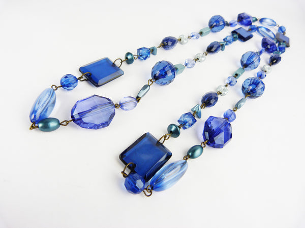 Vintage Art Deco Style Long Blue Bead Flapper Necklace
